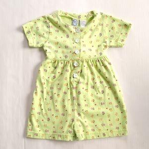 Vintage girls 2t green floral summer romper